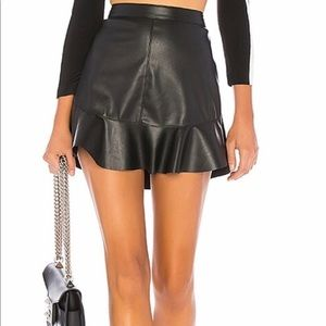 Faux leather ruffle mini skirt